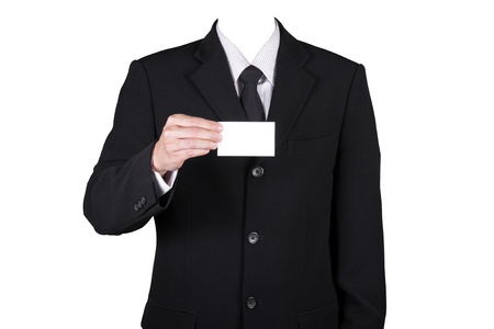 Template businessman show name card on white, included clipping path photo