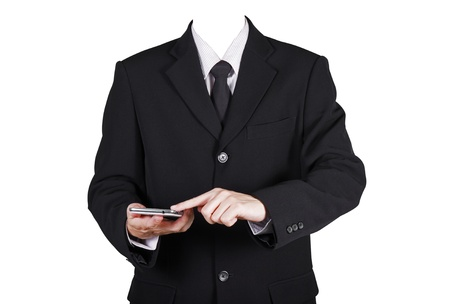 believable: Template businessman touch on smart phone ,isolated included clipping path Stock Photo