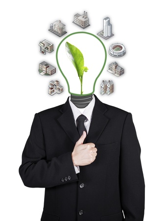 Template businessman green seedling head for environment, isolated included person clipping path photo