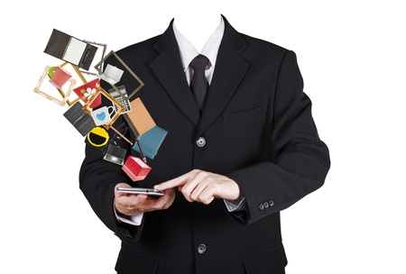believable: Template businessman touch on smart phone for online shopping, isolated included person clipping path