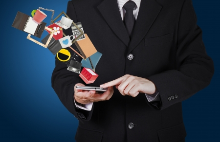 believable: businessman touch on smart phone for online shopping