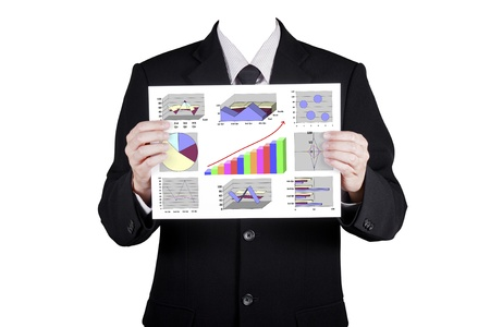 believable: Template businessman show financial analysis chart, isolated included clipping path Stock Photo