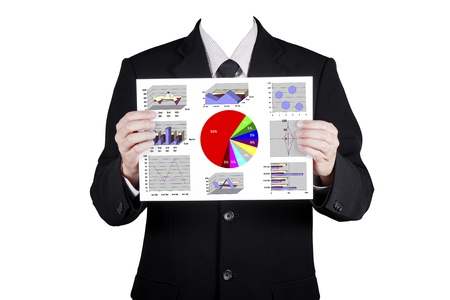 Template businessman show financial analysis chart, isolated included clipping path photo