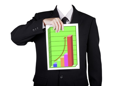Template businessman show success profit chart 3D, isolated included clipping path photo