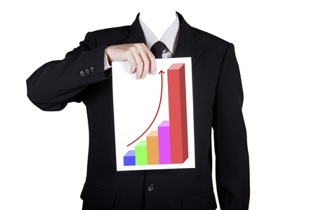 Template businessman show success profit chart, isolated included clipping path photo