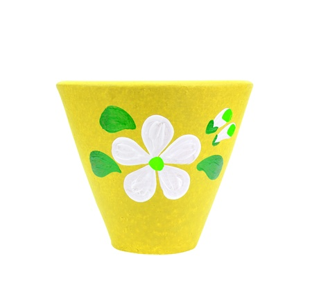 yellow pottery flowerpot on white backgroung, included clipping path photo
