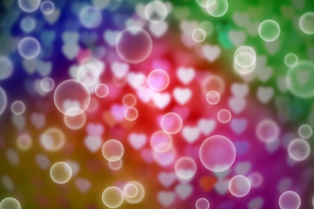 colorful defocused heart bokeh with bubble background, abstract photo
