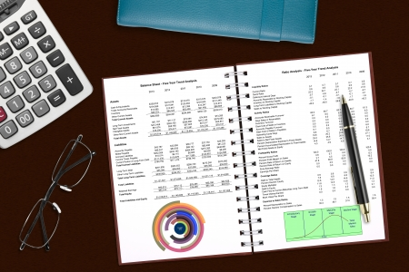 financial analysis book with stationery on the desk photo