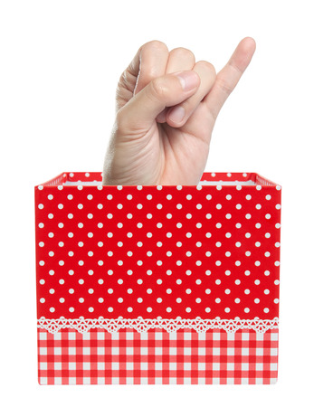 little finger show in gift box, isolated Stock Photo - 22627419