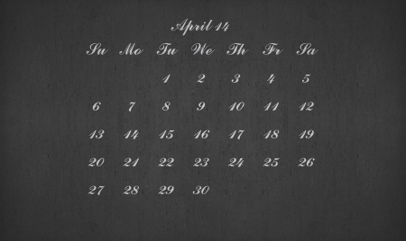 April month 2014 on blackboard for your planner photo