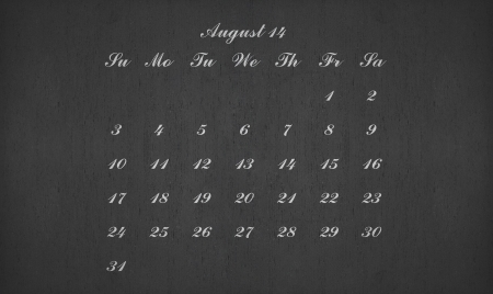 August month 2014 on blackboard for your planner photo