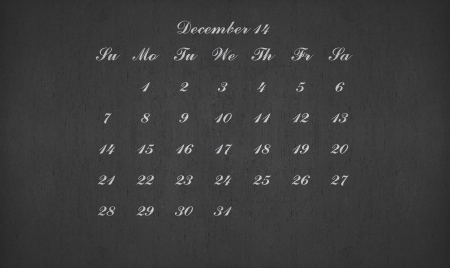December month 2014 on blackboard for your planner photo