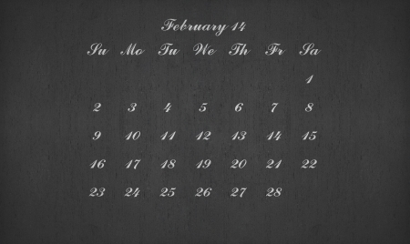 February month 2014 on blackboard for your planner photo
