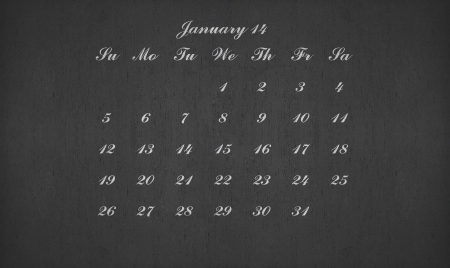 January month 2014 on blackboard for your planner photo