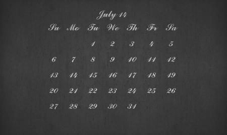 July month 2014 on blackboard for your planner photo