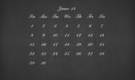 June month 2014 on blackboard for your planner photo