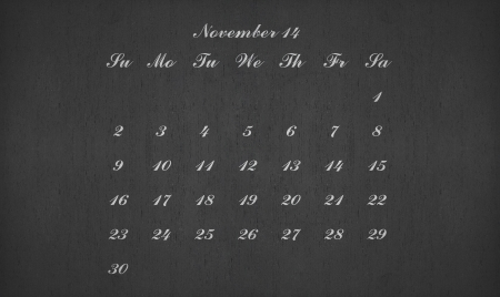 November month 2014 on blackboard for your planner photo