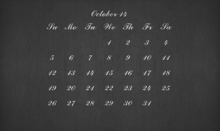 October month 2014 on blackboard for your planner photo