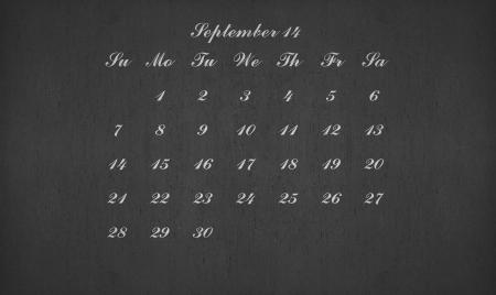 September month 2014 on blackboard for your planner photo