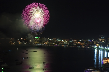 Big firework on the sea for celebrate photo
