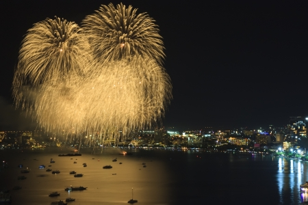 Gold firework on the sea for celebrate photo
