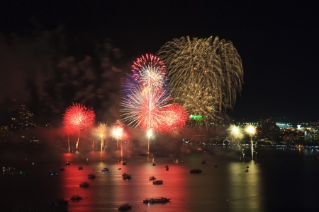 Multi firework on the sea for celebrate photo