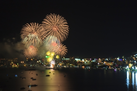Various firework on the sea for celebrate photo