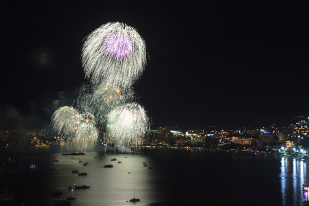 White firework on the sea for celebrate photo