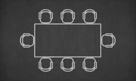 concurrent: blank rectangle meeting table on blackboard for your ideas