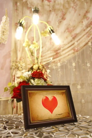 old heart picture frame for love in wedding hall photo
