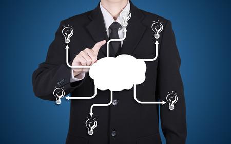 businessman choose on blank success network, blue background Stock Photo