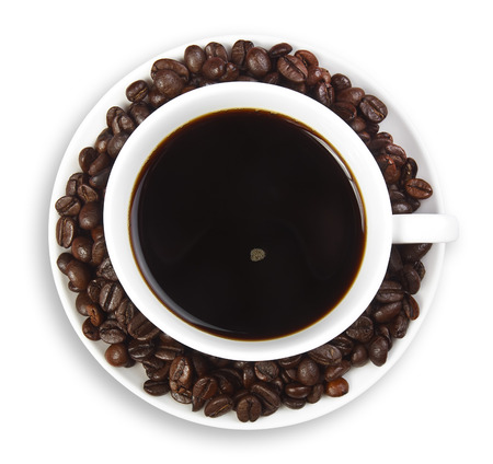 dark coffee with beans in white cup