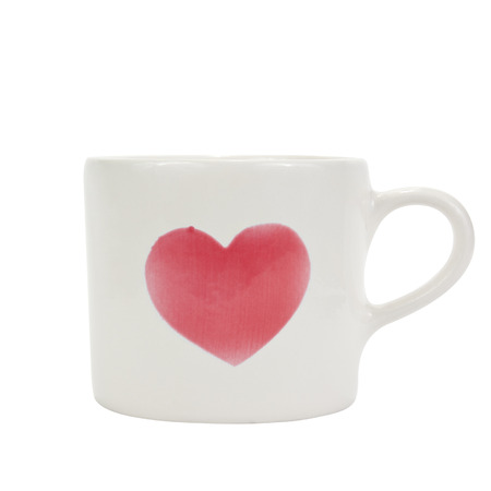 red heart on white cup, isolated