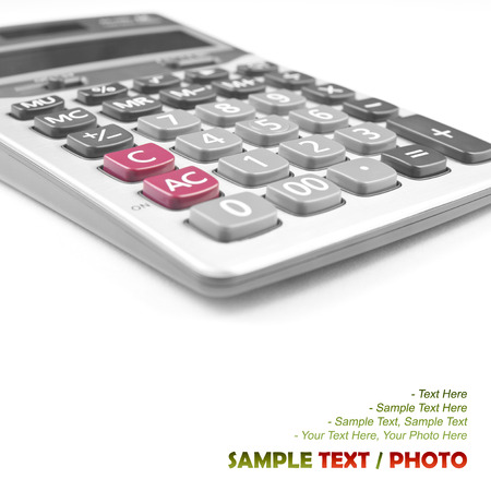 close up calculator on white for your text or idea