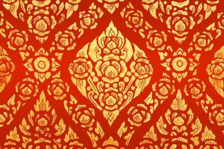 abstract art painting for background or wallpaper on red (General Thai Temple Art)
