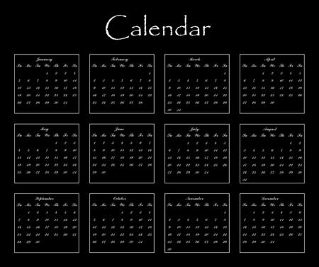 blank calendar for your design on black