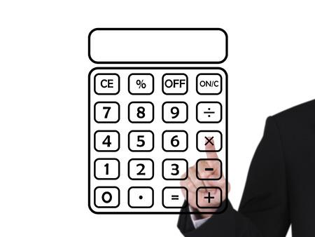 businessman press on blank black calculator, white background