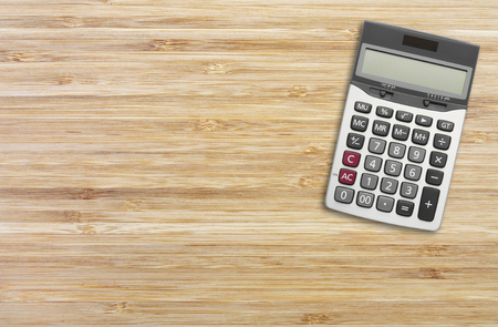 wood texture with calculator for background, horizontal