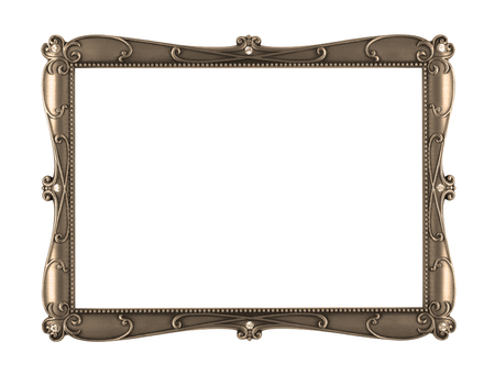 sepia metal art frame isolated on white background