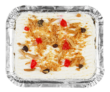 carrot cake with raisin jelly and bean on white, included clipping path Stock Photo
