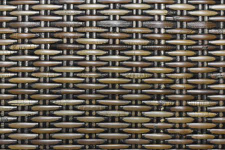 wooden partition: dark rattan weave textured by handmade Stock Photo
