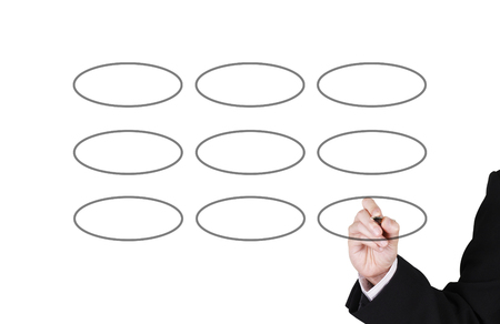 businessman writing on blank circle for your work, white background