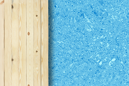 top view swimming pool and wooden deck or wood floor in the hotel or resort for travel at summer holiday with space for your ideas and crop Stock Photo