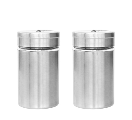 cruet: dual or two blank stainless steel bottle seasoning or cruet for your brand or type of seasoning on white isolated included clipping path