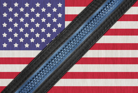 faction: America or American flag on fabric with zipper for connect or separate, The political conflict of America or USA has divided into two factions event Stock Photo