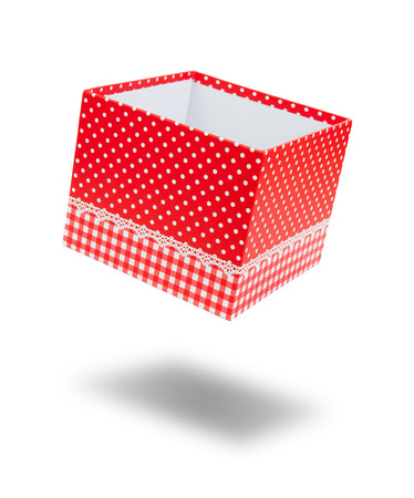 float open empty red gift box dot pattern with shadow and copyspace for put your object and surprise on white background isolated included clipping path Stock Photo