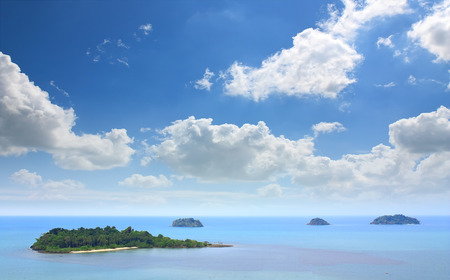 landscape or seascape sea and beach on the clear blue sky with the white cloud in koh chang or elephant island point at trad on summer holiday travel trip