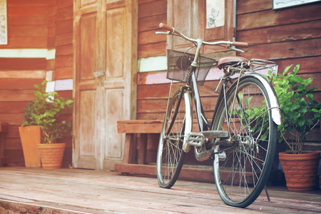 vintage old black and brown bicycle or bike at front of retro wood home terrace with wood door and window with tree in flowerpot for interior architecture decor or past memory background with sunlight