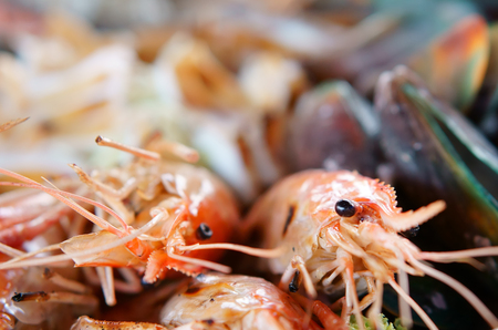 seafood grilled shrimp and mussel with squid or octopus for delicious lunch or dinner and have iodine with cholesterol at restaurant with space