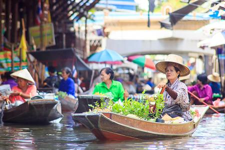 asian produce: Famous Floating Market in Thailand  Damnoen Saduak near Bangkok